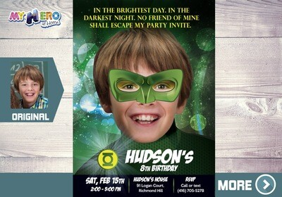 Green Lantern Birthday Invitation. Turn your child into the Green Lantern. Green Lantern Party Invitaton. Green Lantern theme party. 087