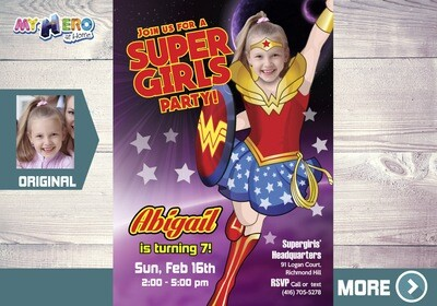 Wonder Woman Birthday Invitation, Super Girls Party Ideas, Party themed Wonder Woman, Super Heroine Birthday, Wonder Woman Digital. 129