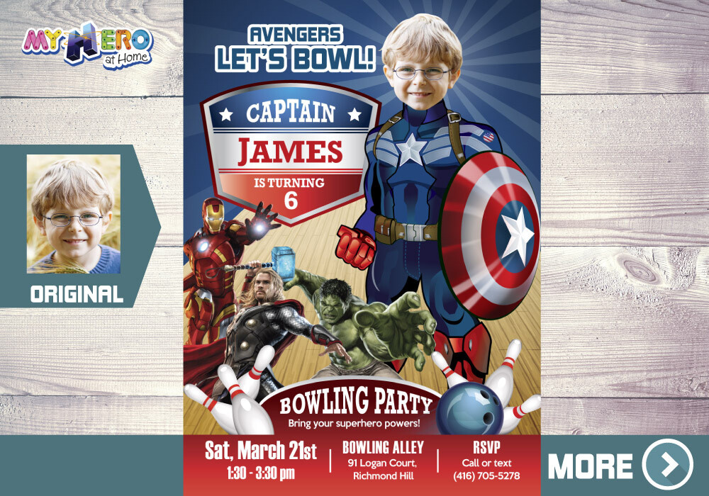 Bowling Party Captain America Invitation, Bowling Avengers Birthday Party, Captain America Bowling Birthday Invitation, Avengers Bowl, 138