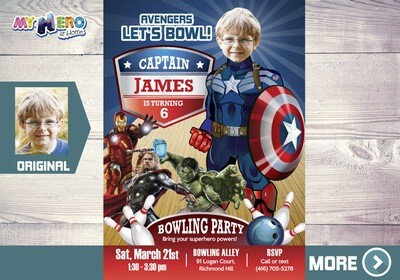 Bowling Party Captain America Invitation. Bowling Avengers Birthday Party. Captain America Bowling Birthday Invitation. Avengers Bowl. 138