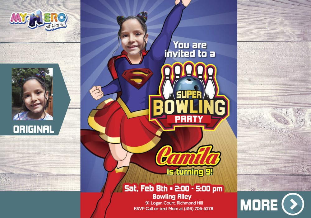 Supergirl Bowling Party Invitation. Bowling Supergirl themed Party. Super Girl Bowling Party. Bowling Party Ideas for girls. 145