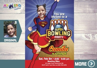 Supergirl Bowling Party Invitation, Bowling Supergirl theme Party, Super Hero Girls Bowling Party, Bowling Party Ideas for girls, 145