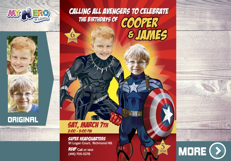 Black Panther and Captain America Invitation, Siblings Avengers Party, Captain America and Black Panther Party, Joint Avengers Party, 164