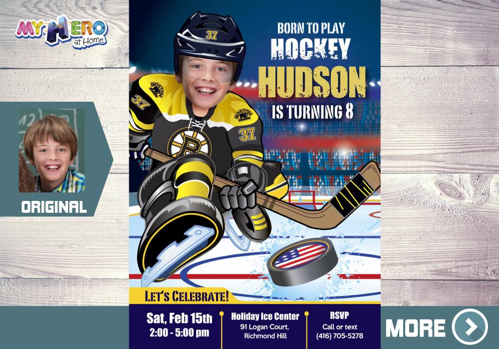 Boston Bruins Birthday Invitation, Boston Bruins, Children Hockey Party, Hockey Digital, Hockey Virtual, Hockey Birthday Invitation. 324