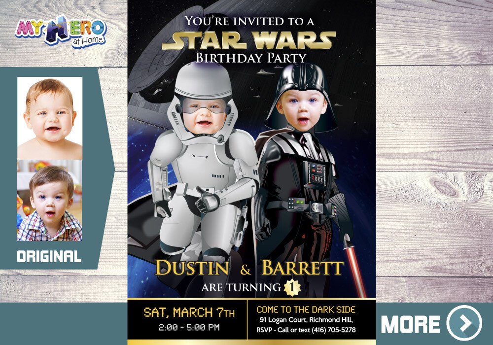 Star Wars 1st Birthday Ideas. Star Wars 1st party. Star Wars Baby Twins party. Turn your babies into Darth Vader and a Stormtrooper. 037B
