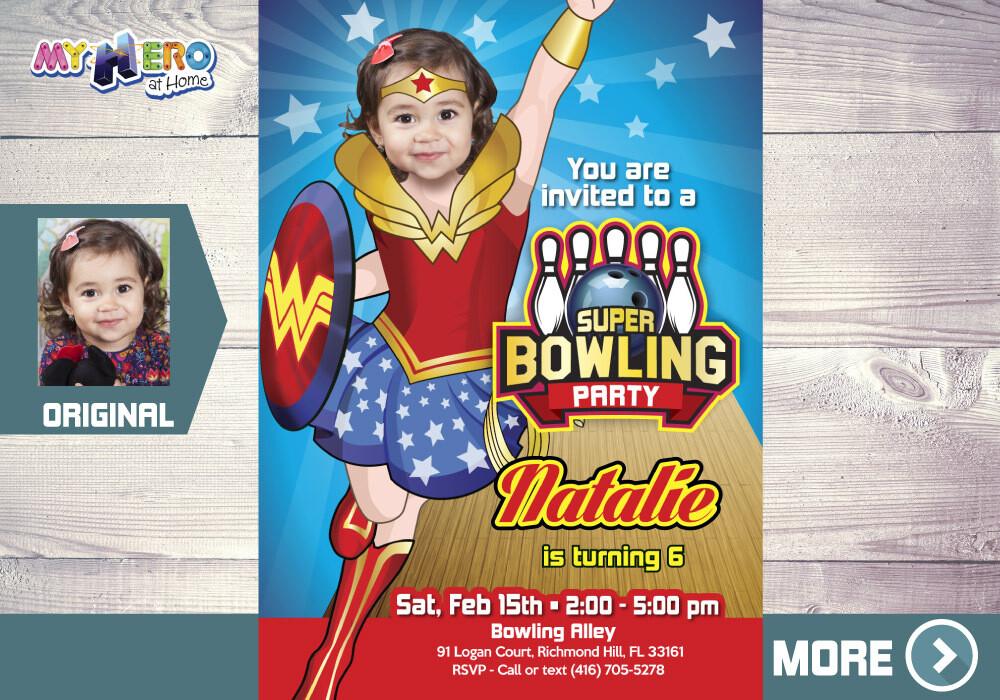 Wonder Woman Bowling Party Invitation. Bowling Party Wonder Woman. Bowling Party Ideas for girls. Fiesta de bowling tema superheroes. 143