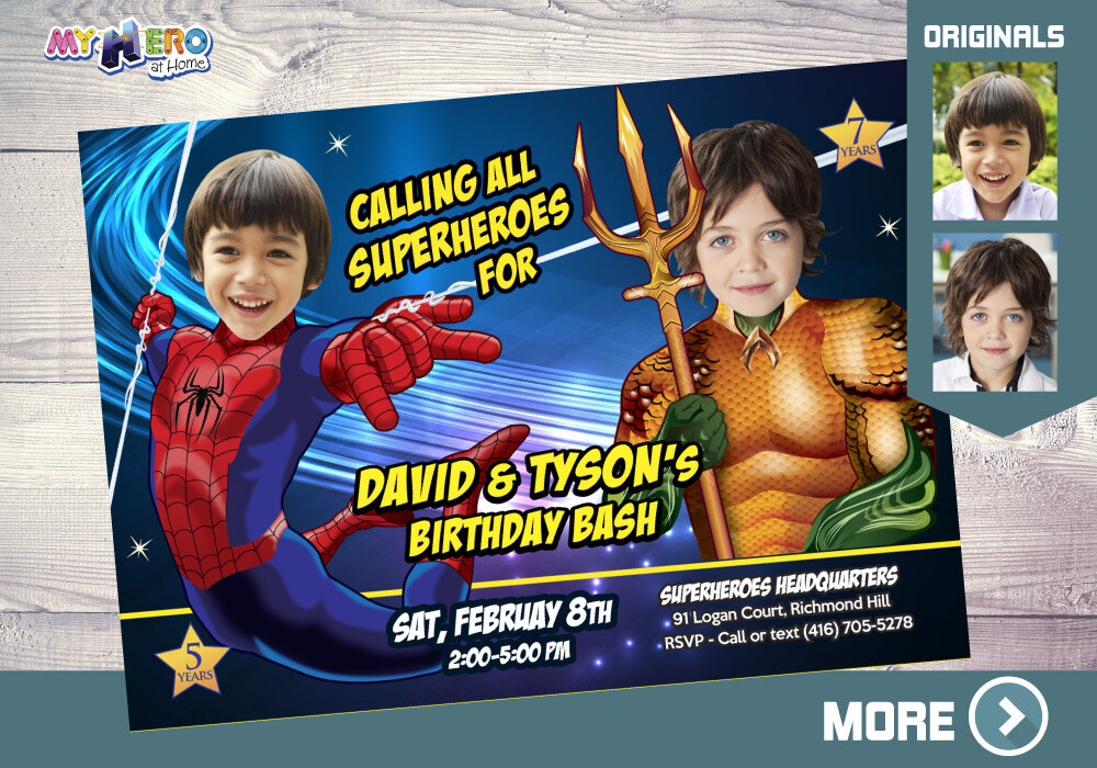 Spiderman and Aquaman Birthday Invitation. Superheroes Brothers Invitation. Super Siblings Party. Aquaman and Spiderman Party Ideas. 294