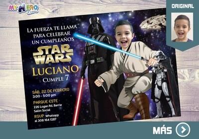 Invitación de Star Wars. Cumpleaños Star Wars. Fiesta tema Star Wars. Ideas Fiesta de Jedis. Convierta a su niño en un Jedi. 005SP