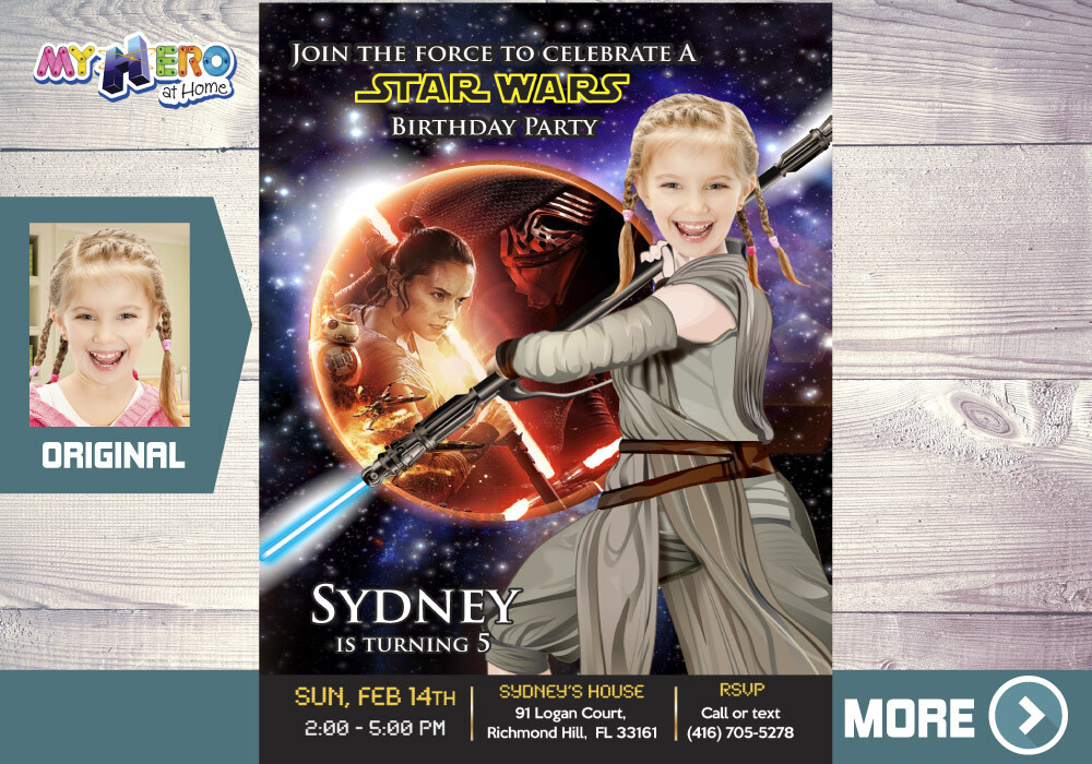 Star Wars Birthday Invitation for Girls, Star Wars Birthday Party Ideas for Girls, Jedi Rey Party Invitations, Jedi Rey Birthday Ideas. 008