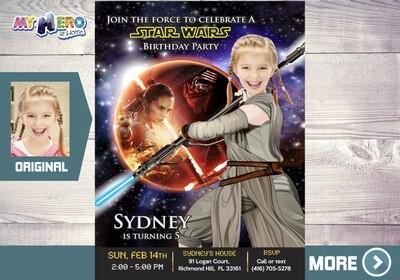 Star Wars Birthday Invitation for Girls. Star Wars Birthday Party Ideas for Girls. Jedi Rey Party Invitations. Jedi Rey Birthday Ideas. 008