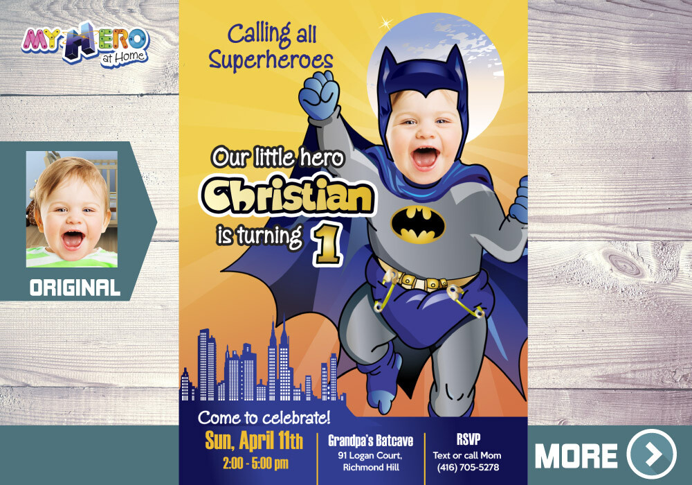 Batman 1st Birthday Invitation. Baby Batman 1st Party. 060