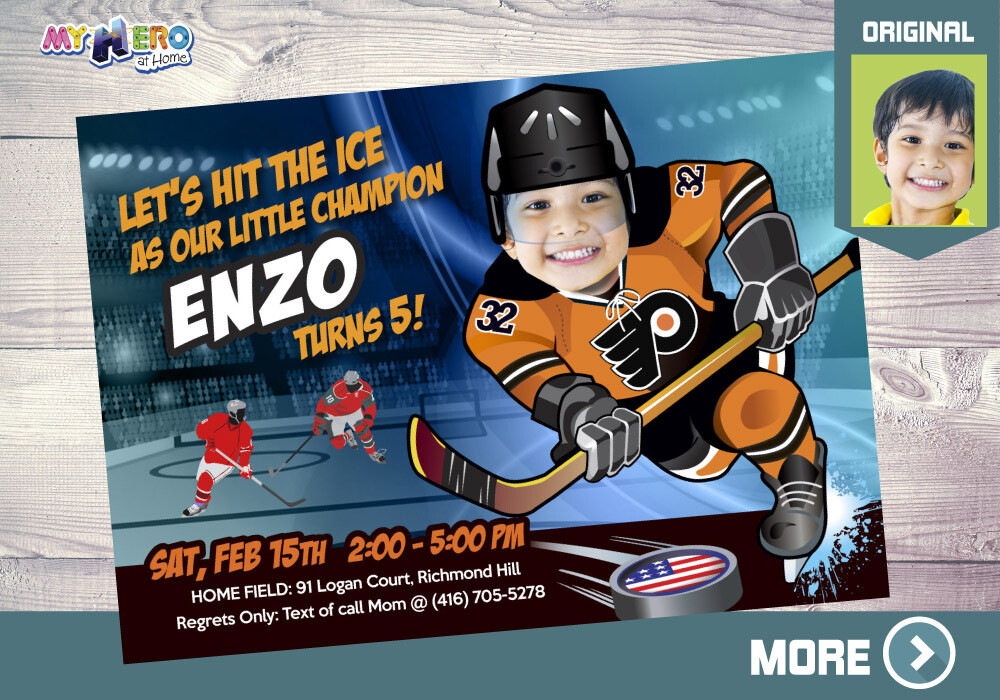 Philadelphia Flyers Birthday Invitation, Philadelphia Flyers Party, Hockey Digital, Hockey Virtual Party, Hockey Birthday Invitation. 305