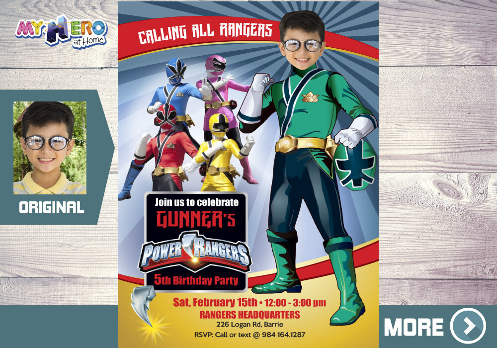 Green Power Rangers Birthday Invitation, Green Power Ranger Party, Power Rangers Theme party, Rangers Virtual, Rangers Digital Invitation. 415