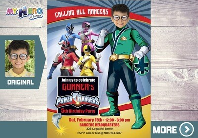 Green Power Rangers Invitation. Power Rangers Party Invitation. 415