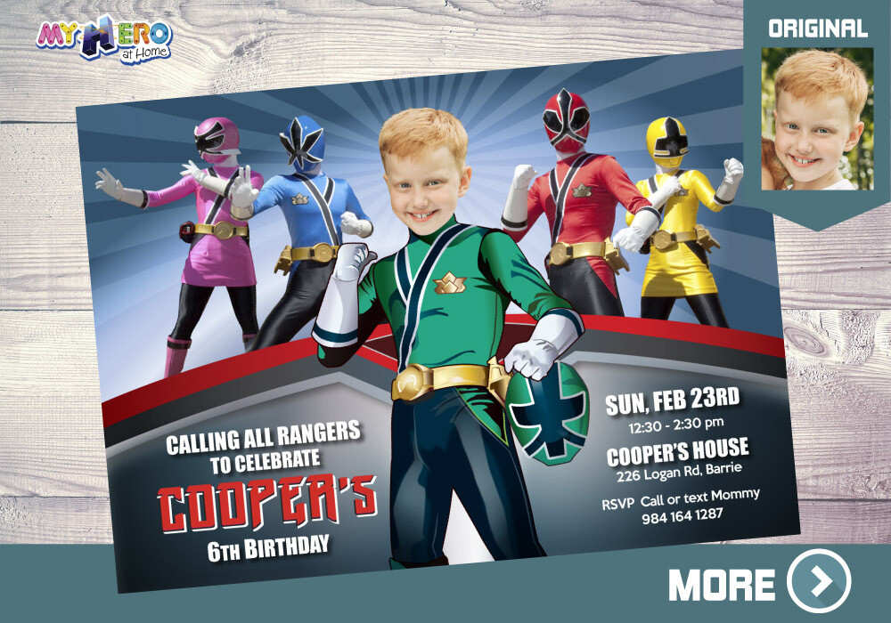 Green Power Rangers Birthday Invitation, Green Power Ranger Party, Power Rangers Theme party, Rangers Virtual, Rangers Digital Invitation. 414