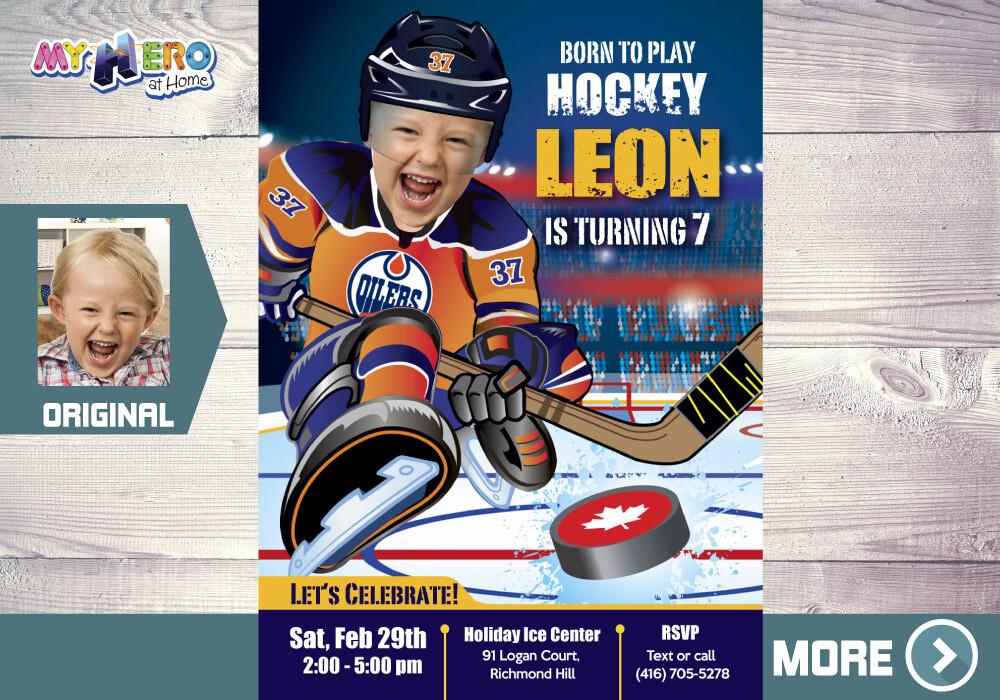 Edmonton Oilers Birthday Invitation, Edmonton Oilers Party, Children Hockey Party, Hockey Digital, Hockey Virtual, Hockey Birthday. 331