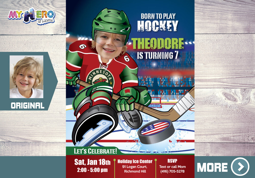 Minnesota Wild Birthday Invitation, Minnesota Wild Party, Children Hockey Party, Hockey Digital, Hockey Virtual, Hockey Birthday. 319