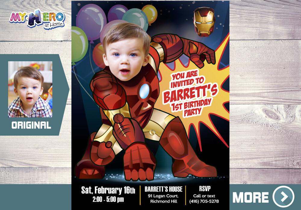 Iron Man 1st Birthday Invitation, Ironman 1st Party, Baby Iron Man Birthday, Iron man First Party, Iron man first birthday. 416