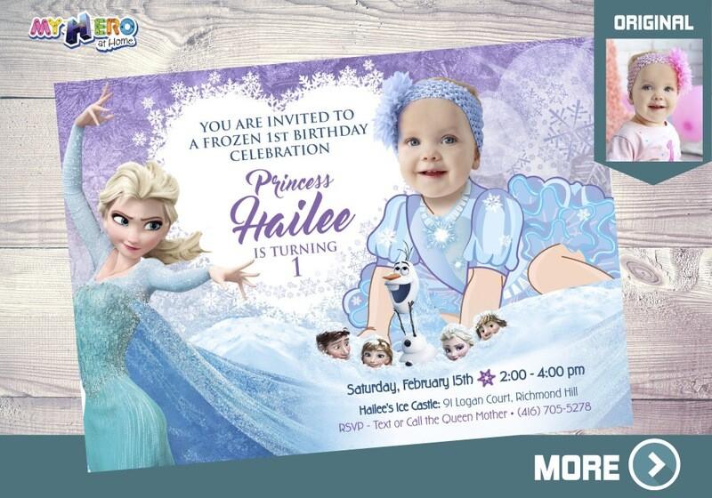 Baby Elsa 1st Invitation. 1st Birthday Frozen themed. 268