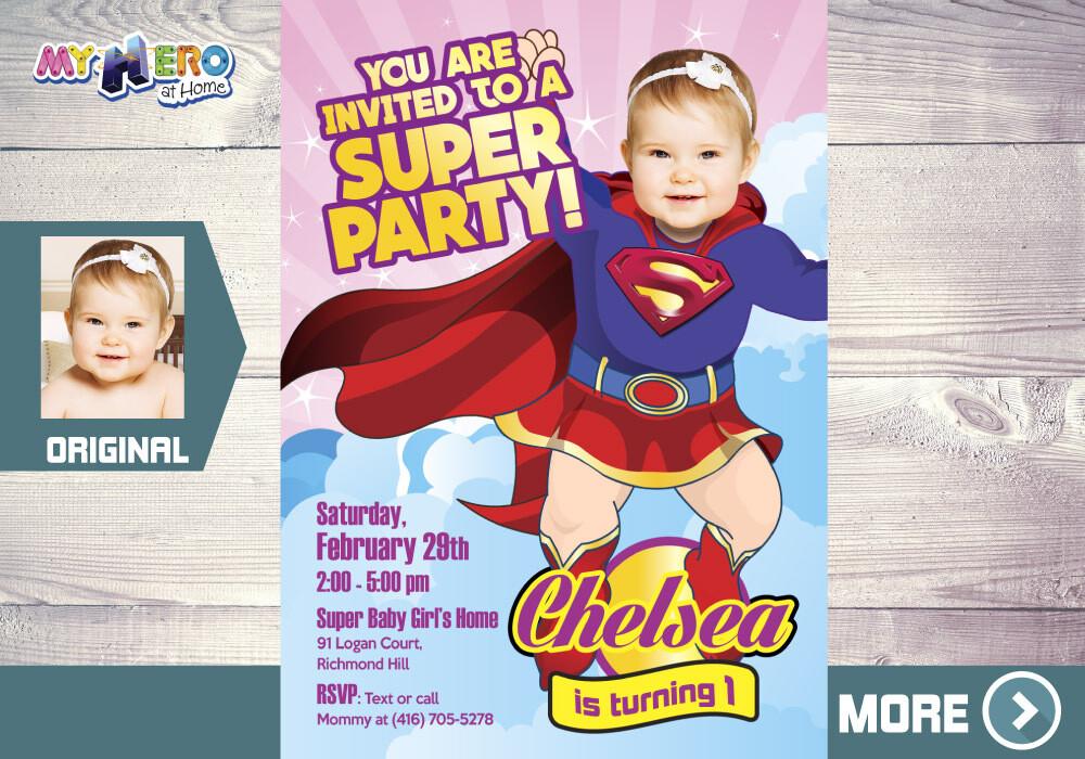 Supergirl 1st Birthday Invitation, Supergirl 1st Party, Baby Supergirl Birthday, First Birthday Supergirl, Baby Supergirl Party. 157