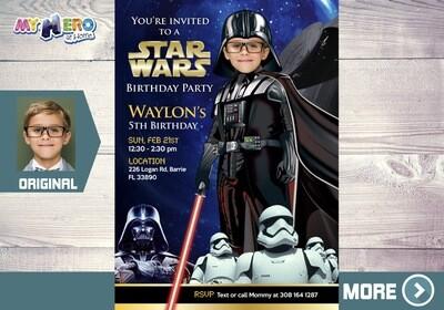 Darth Vader Invitation. Turn your little one into Darth Vader. Dark Side Star Wars Party Ideas. Darth Vader Birthday Ideas. 009