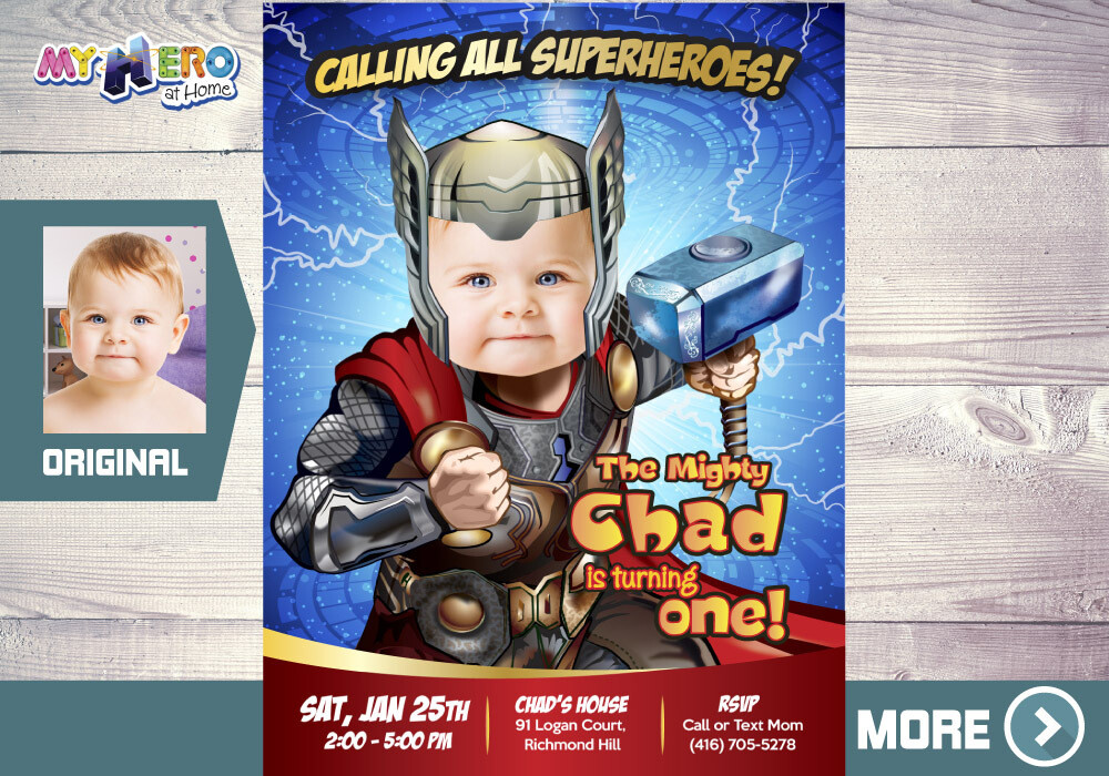 Thor 1st Birthday Invitation, Baby Thor Birthday, Thor 1st Party, Avengers 1st Birthday, Baby Thor first birthday. 417