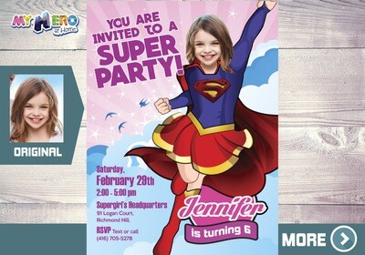 Supergirl Party Invitation, Supergirl Digital Invitation, Supergirl Party, Supergirl Birthday, Super hero Girls Invitation. 110