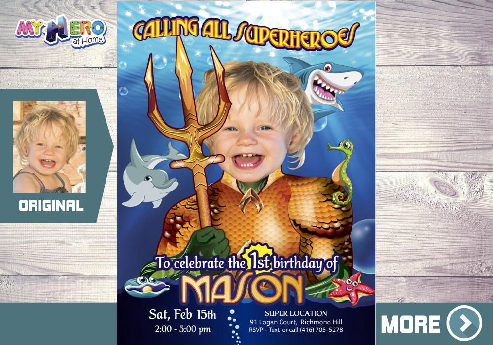 Aquaman 1st Invitation, Aquaman 1st Party, Baby Aquaman Invitation, Baby 1st Superhero Birthday, Aquaman 1st Birthday. 193
