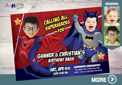 Batman and Spiderman Invitation. Siblings Superheroes Birthday Invitation. Joint Superheroes Party. Spiderman and Batman Party. 107