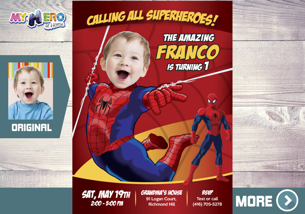 Spider-Man 1st Birthday Invitation, Baby Spider-man Birthday, Spider-man 1st party, Spider-Man First Birthday, Avengers 1st Birthday, 100