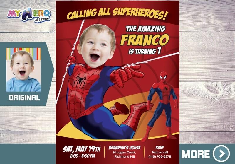 Spider-Man 1st Birthday Invitation, Baby Spider-man Birthday, Spider-man 1st party, Spider-Man First Birthday, Avengers 1st Birthday, 100