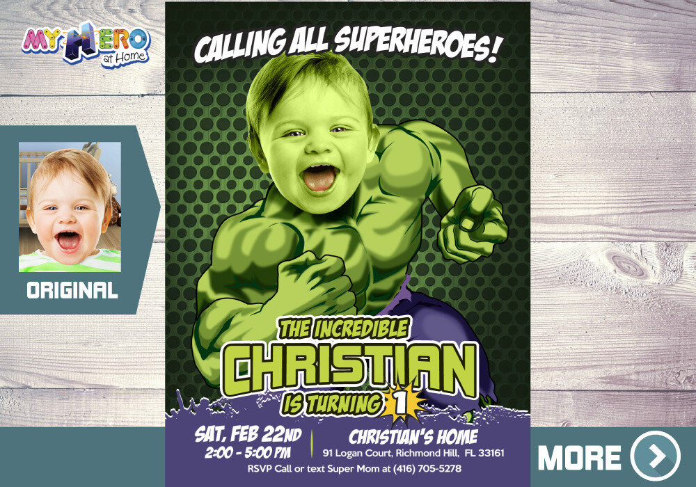 Hulk 1st Birthday Invitation, Hulk First Birthday, Baby Hulk Birthday, Avengers 1st Party, Superhero 1st Birthday, Baby Hulk Party. 089B