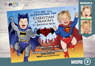 Superman and Batman 1st Birthday. Super Baby Twins Invitation. Baby Batman and Baby Superman Party Ideas. Super Babies Party. 065