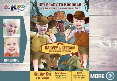 Joint Dinosaurs Birthday Invitation, Dinosaurs Siblings Birthday, Joint Dinosaurs Party, Dinosaurs Digital Invitation. 211