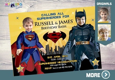 Superman and Batman Invitation. Batman Superman party. 067