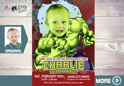 Hulk Invitation. Hulk Party. Hulk Birthday. Turn your little boy into Hulk. Hulk Party Decoration. Invitación de Hulk. Hulk Costume. 088
