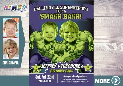 Joint Hulk Party, Hulk Siblings Birthday, Joint Avengers Party, Hulk Siblings Invitation, Hulk Joint Party, Hulk Party for 2 boys, 418