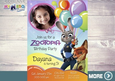 Zootopia Birthday Invitation, Zootopia photo Invitation, Zoopotia Digital Invitation, Zootopia Virtual Party, Invitación de Zootopia. 052
