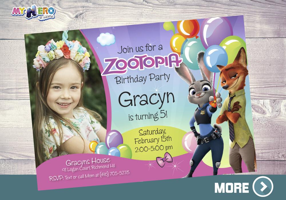 Zootopia Birthday Invitation for Girls, Zootopia photo Invitation, Zoopotia Digital Invitation, Zootopia Virtual Birthday. 053