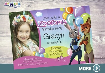 Zootopia Birthday Invitation for Girls, Zootopia photo Invitation, Zoopotia Digital Invitation, Zootopia Virtual Birthday. 053