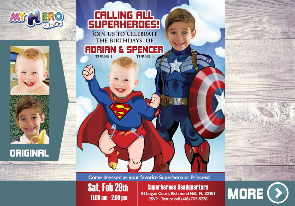 Captain America and Superman Invitation. Siblings Superheroes Party. Joint Superheroes Birthday Invitation. Super Brothers Invitation. 083