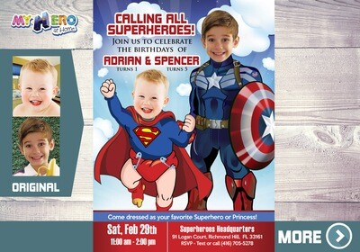 Captain America and Superman Invitation, Siblings Superheroes Party, Joint Superheroes Birthday Invitation, Super Brothers Invitation, 083