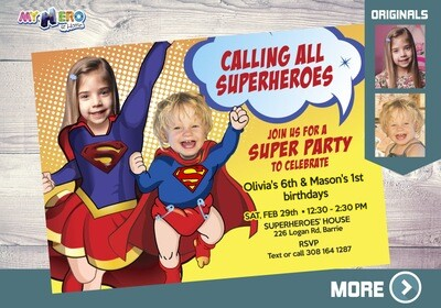 Joint superheroes Birthday Invitation, Superman and Supergirl Birthday Invitation, Joint Superheroes Digital, Superheroes Virtual. 118