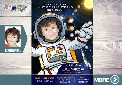 Astronaut Birthday Invitation, Out of this world party, Outer Space Party, Astronaut Digital Invitation, Astronaut Virtual Birthday. 235