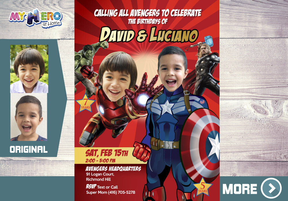 Captain America and Iron Man theme party, Captain America and Iron Man Birthday, Joint Avengers Party Invitation, Avengers Party for 2. 079