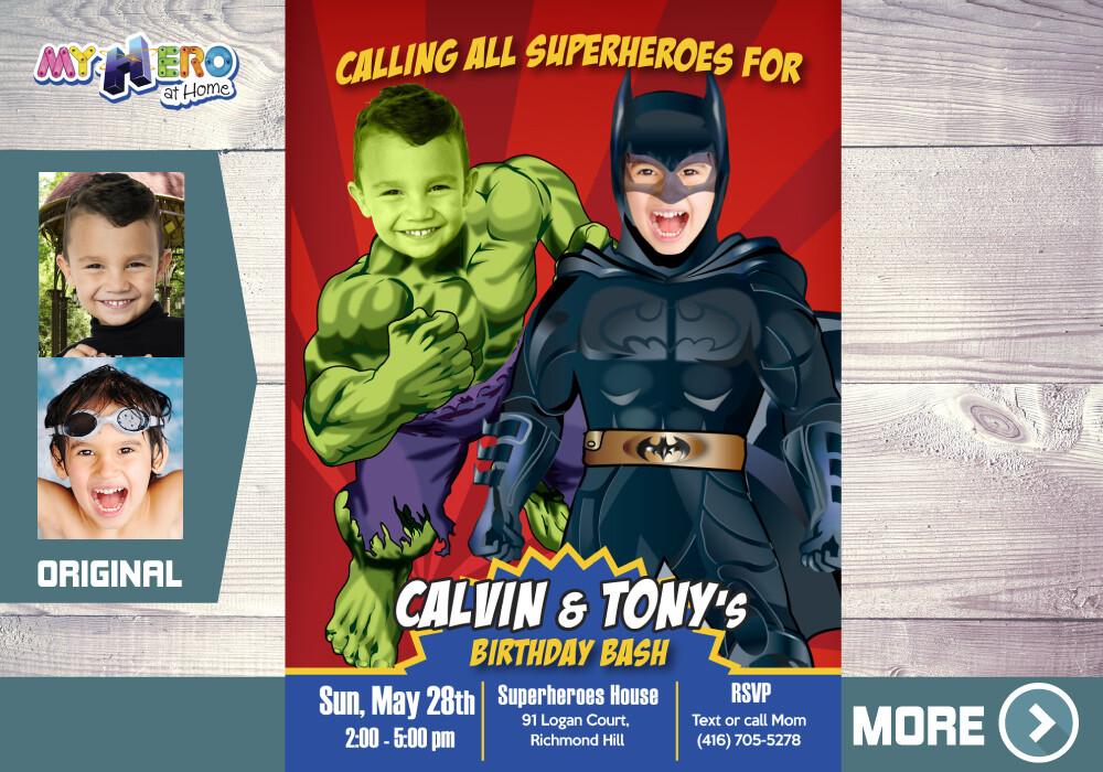 Batman and Hulk Party Invitation. Superheroes Brothers Invitations. Super Siblings Invitation. Joint Superheroes Birthday Ideas. 152