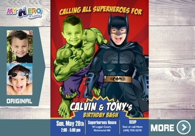 Batman and Hulk Party Invitation. Superheroes Brothers Invitations. Super Siblings Invitation. Joint Superheroes Birthday Ideas. 152