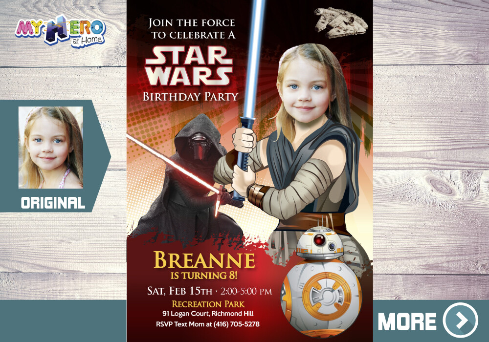 Jedi Rey Party ideas. Jedi Rey Invitation. Girly Star Wars Party Ideas. Star Wars Invitation for Girls. Jedi Rey Decoration. 038