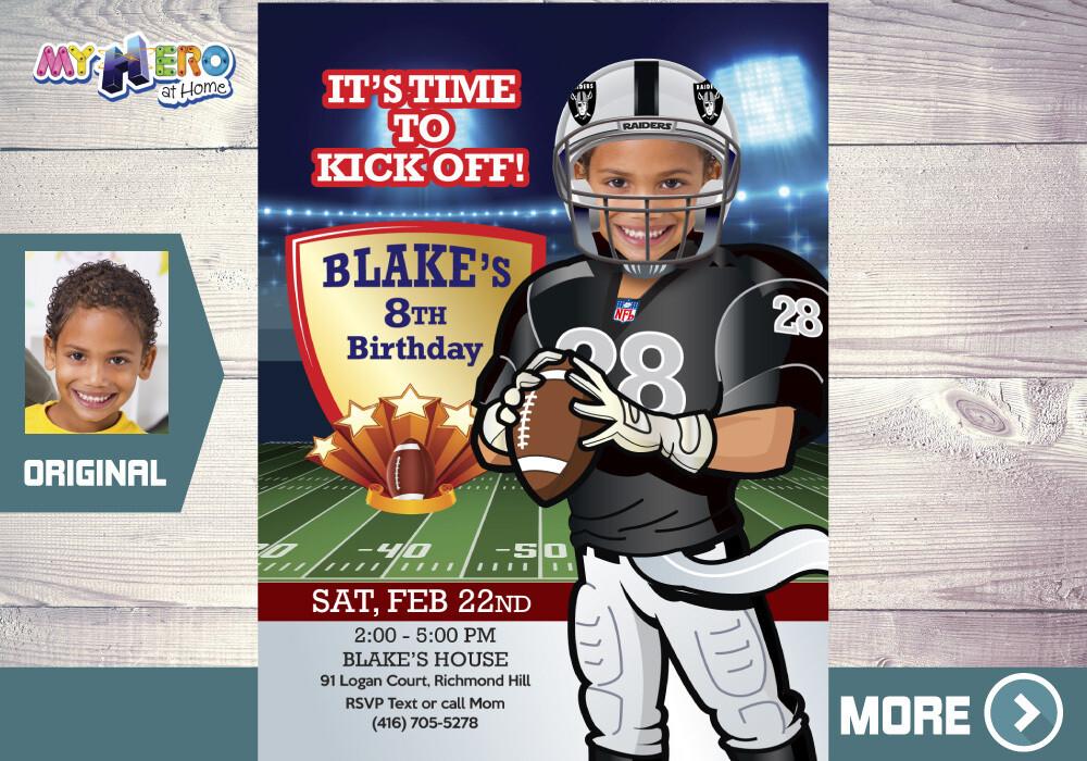 Oakland Raiders Party, Football Bday Invite, Football theme Party, Las Vegas Raiders Party Invite, Las Vegas Football Party. 419