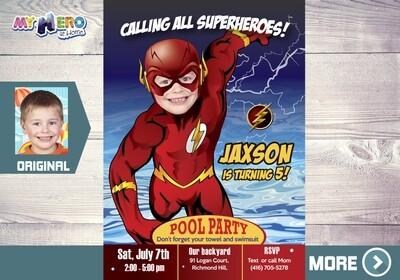 Flash Pool Party Invitation. Flash Invitation. The Flash Water Party. Flash Birthday Invitation. Superhero Pool Party. Splash Party. 173